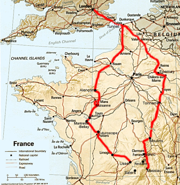 Map of France with our itinerary